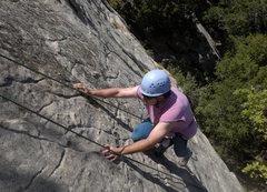 Rock Climbing Photo: Scott encounters delicate slab climbing near the t...