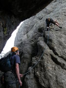 Rock Climbing Photo: Me leading the first pitch of the coon route