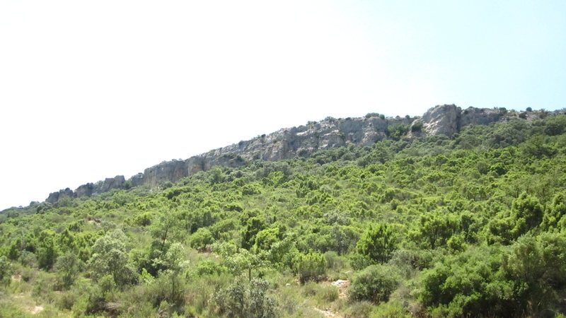 View of the cliff from the dirt road.