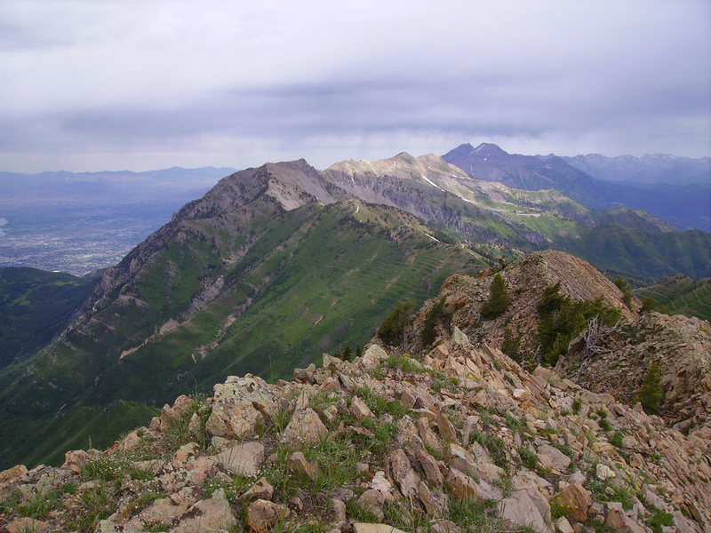 Looking north from the summit to Cascade Peak, Mt. Timpanogos, and beyond.