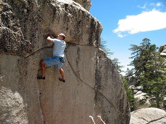Rock Climbing Photo: Mike on Tribe Called Conquest (V5 R), Tramway