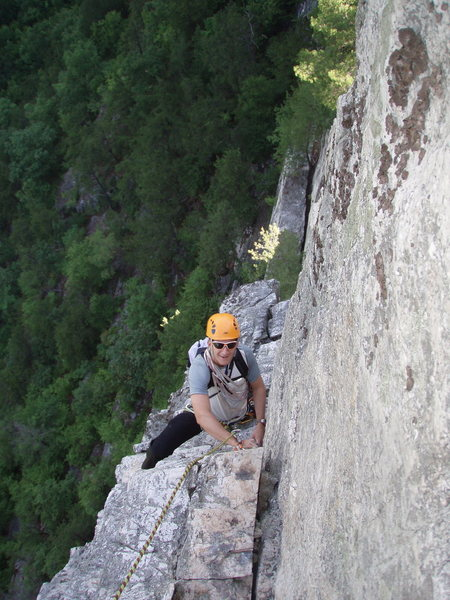 Rock Climbing Photo: Following the first pitch (view from belay - note,...