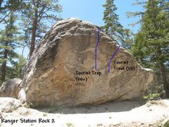 Rock Climbing Photo: Photo/topo for Ranger Station Rock 2, Tramway.