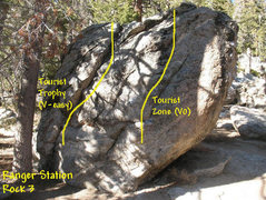 Rock Climbing Photo: Photo/topo for Ranger Station Rock 3, Tramway.