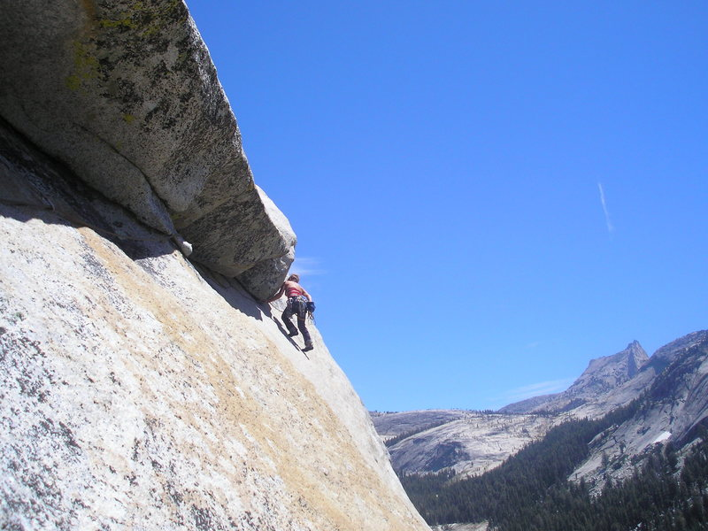 Rock Climbing Photo: End of the 5.9 roof.