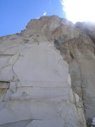 Rock Climbing Photo: The route goes up the obvious thin crack and then ...