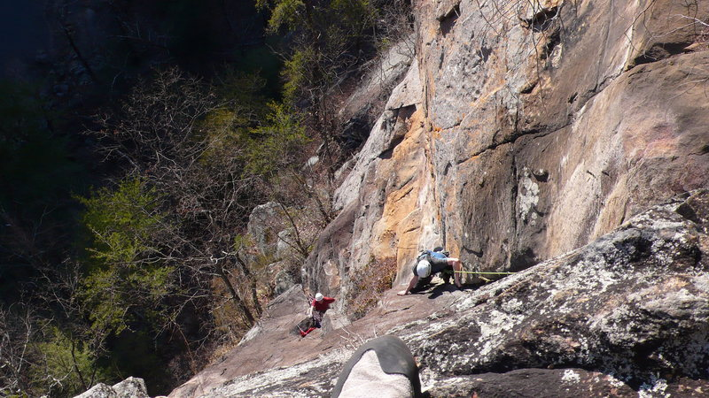 Me following the second pitch of Mescaline Daydream at the beautiful Tallulah Gorge, GA