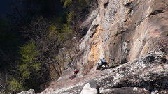 Rock Climbing Photo: Me following the second pitch of Mescaline Daydrea...