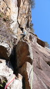 Rock Climbing Photo: Me half way of the second pitch of Mescaline Daydr...