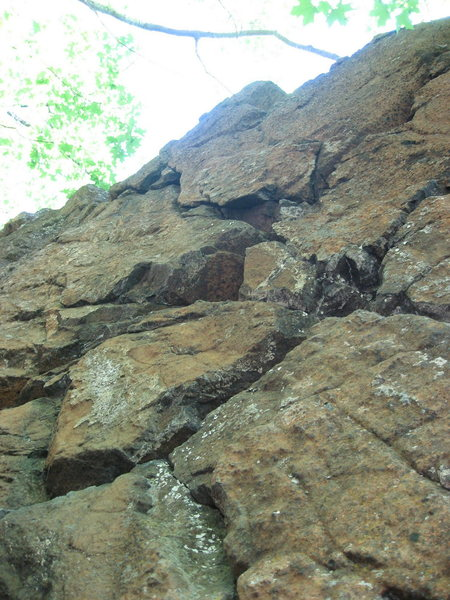 Rope-burn (5.10) on the right, Powersurge (5.9) on the left.