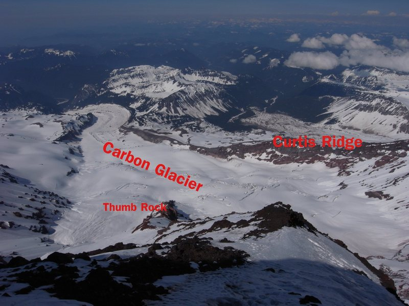 Early season looking SE onto the Carbon Glacier from Liberty Ridge at 12,000ft. <br> <br> Curtis Ridge spans the right side of the photo. Be sure to exit Curtis Ridge onto Carbon Glacier at a weakness around 7500ft.