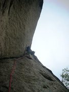 Rock Climbing Photo: Doug Sabetti on crux of last pitch of Recompense
