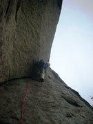 Rock Climbing Photo: Doug Sabetti placing gear at crux of P3, Recompens...