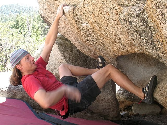 Rock Climbing Photo: Euan on Greasfire, Right Variation (V5), Tramway