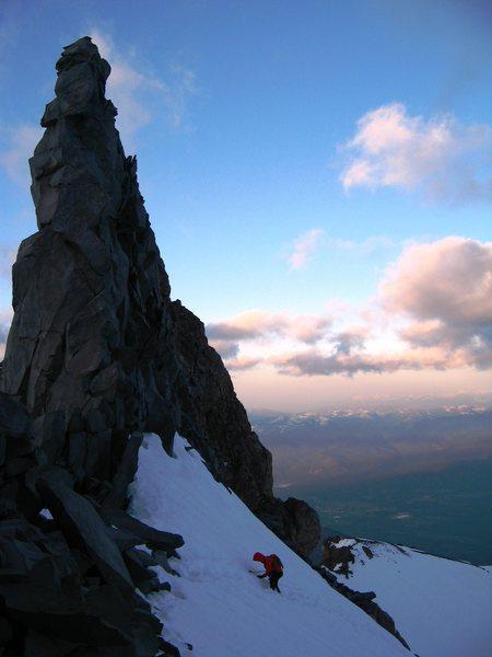 Rock Climbing Photo: Climbing Casaval Ridge on Mt Shasta at sunrise. Ma...