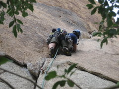 Rock Climbing Photo: Starting up Illusion Dweller (my first 5.10b) in J...