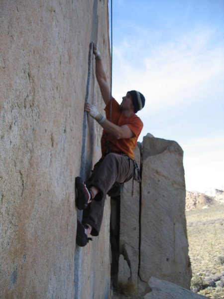 John Learned climbing O'Kelly's Crack in Joshua Tree.  March 2007.