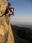 Rock Climbing Photo: Andy Patterson leading T-Crack in Santa Barbara.  ...