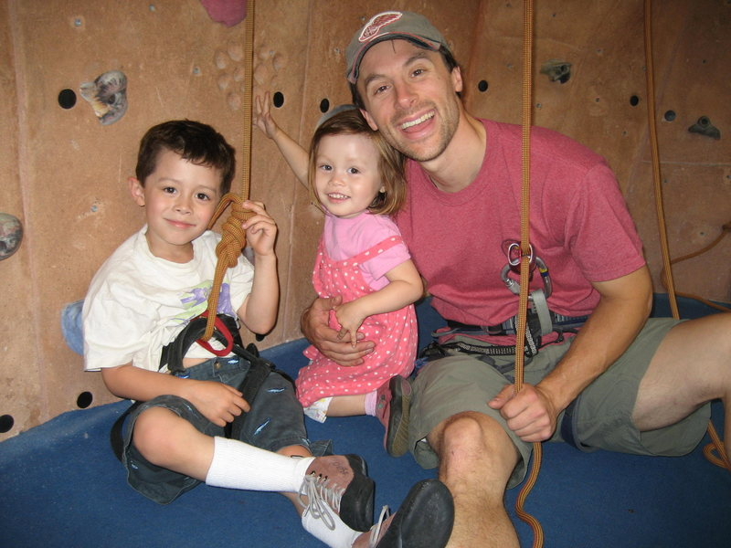 My nephew Ronin (age 5) and my niece Phoebe (age 3) at the climbing gym in San Francisco.  June 2009.