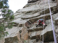 Rock Climbing Photo: finger on new bolt.  We realize its not exactly wh...