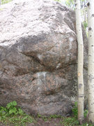 Rock Climbing Photo: The problem starts on the obvious chalked edge bel...