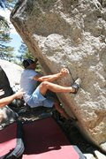 Rock Climbing Photo: Mike grabs the 2nd ascent of Tooth Fairy, V6