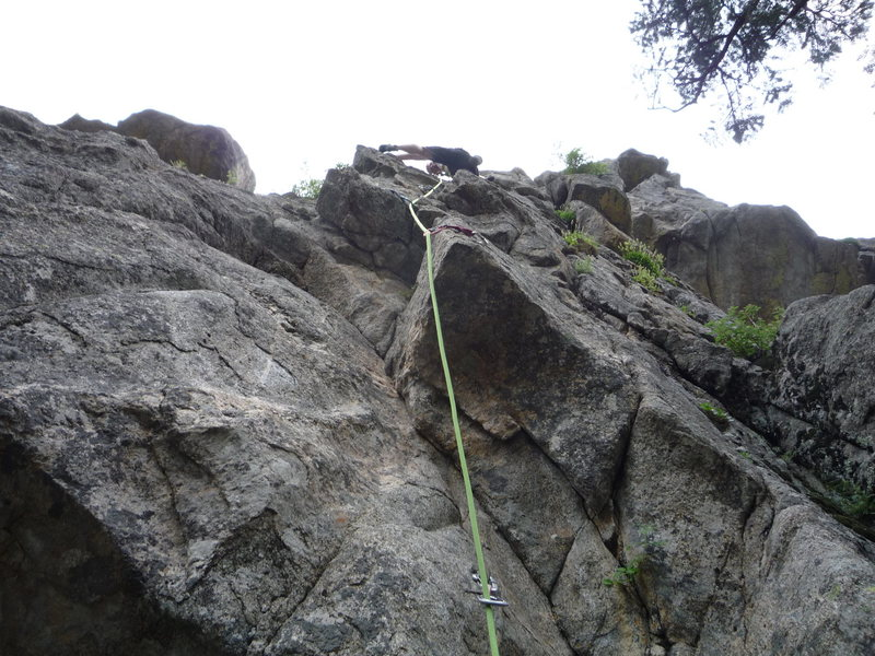 The route. The crux is at the bottom of the photo.