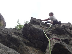 Rock Climbing Photo: Acting the fool on the upper portion of the route.