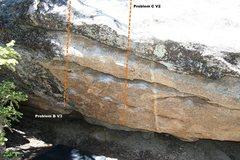 Rock Climbing Photo: Greasefire Boulder West Face Topo