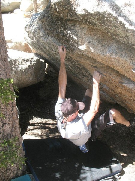 Just past the crux of Problem B (V3) on the Greasfire Boulder, Tramway<br>