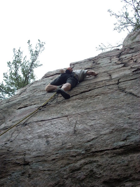 Right after the crux, that's a Met #00 at my feet. Yikes!