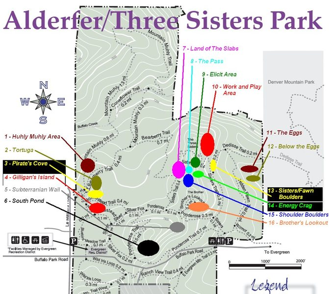 Map of the bouldering areas in Alderfer/Three Sisters Park.