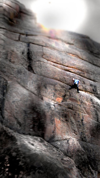 "Luke Childers finding no dilemma on ""Dave's Dilemma.""  The Crimp-fest Wall, Devil's Head, Colorado."