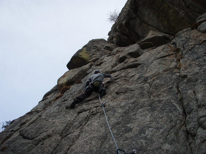 Fourth bolt on The Tower (5.9).