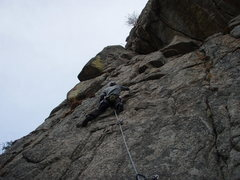 Rock Climbing Photo: Fourth bolt on The Tower (5.9).