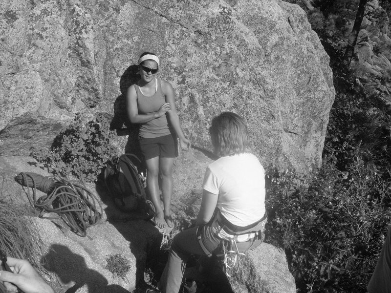 From Umph slot, 7/14. My dying batteries rendered Jen (facing) and Leah (back) in black and white. With Jen's rommate Jenna, we ran up East Slab East while waiting for a turn on The Slot.