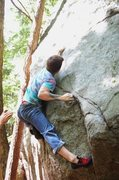 Rock Climbing Photo: so close! i touched the upper crimp.. barred down....