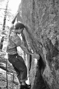 Rock Climbing Photo: big move to the crimp