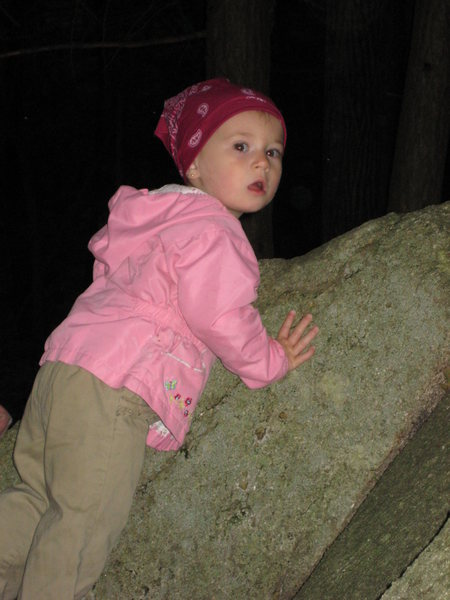 My daughter MacKenzie(1 1/2) attempting her first climb.