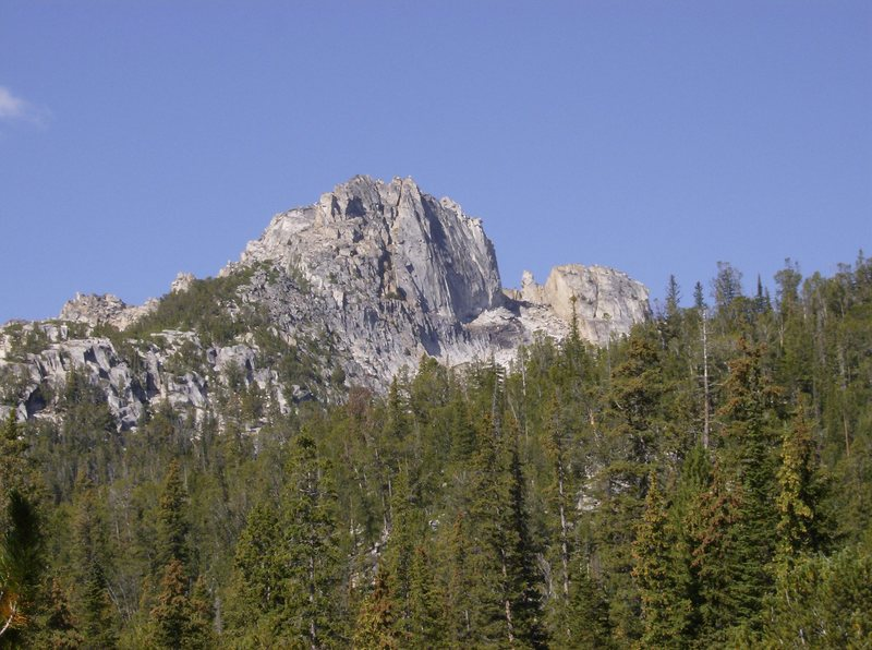 Rock Climbing Photo: Gorge Lakes Spire, Train Tracks to the Top goes up...