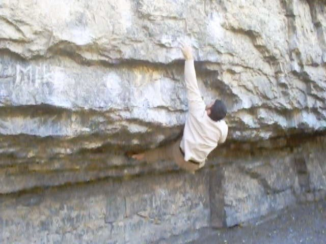 Rock Climbing Photo: v7 side pull 1995