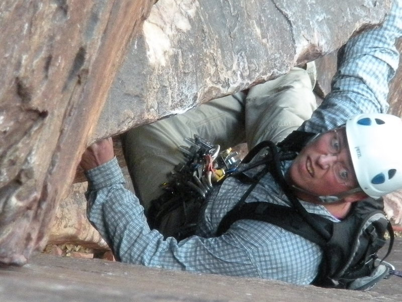 Rock Climbing Photo: The intensity of Joe Carter on pitch 7!