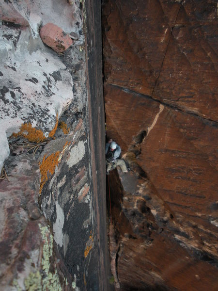 Joe, mid-way through pitch 7. Great gear placements the whole way up.