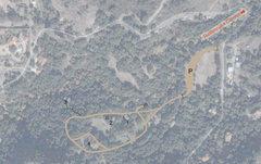 Rock Climbing Photo: P: Parking 1: Caretaker Boulder 2: Pissoir Boulder...