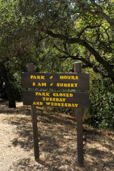 Technically, the park is closed Tuesday & Wednesday; although, it is still possible to park on Los Canoas Road and walk in.
