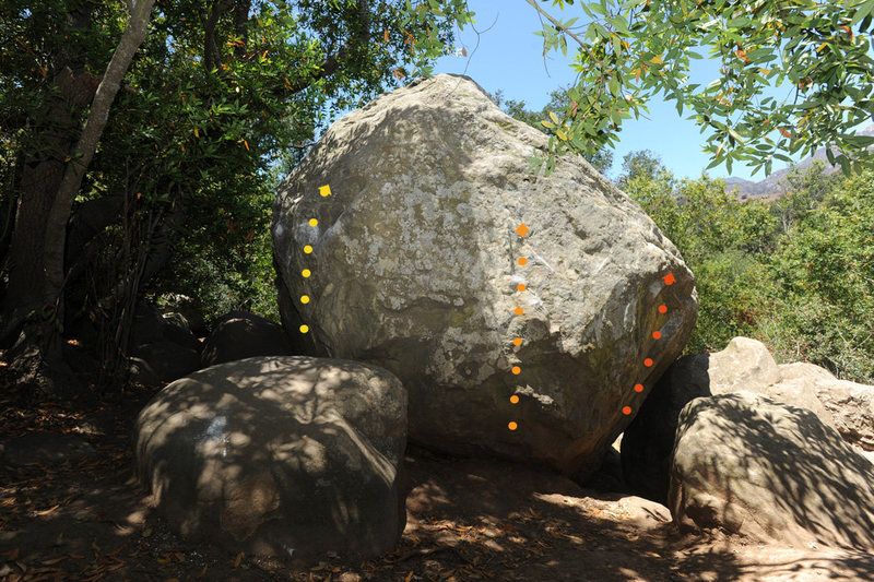 Caretaker Boulder, Skofield Park<br> Yellow: Igemma (V3)<br> Orange: Stihl (V1+)<br> Red: Zerreissen (V4)<br>