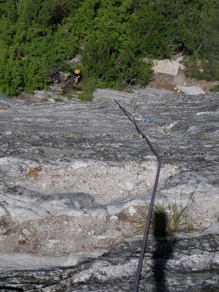 Rock Climbing Photo: Looking down from the top of the first pitch of Fa...