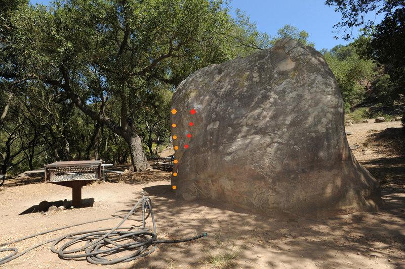 North Face of the Barbeque Boulder<br> <br> Orange: Chunks of Flesh (V1)<br> Red: Gorehound (V0+)