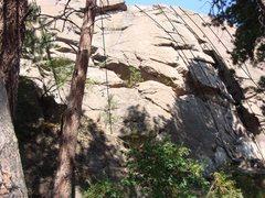 Rock Climbing Photo: The main wall, center at Minne: 1. main crack 2. a...