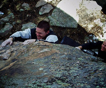 "Rock Climbing Photo: Jim Hausmann pulling the ""Sausage Nome."""